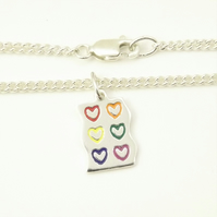Rainbow Heart Anklet, Silver Enamel Heart Jewellery, Handmade Gift for Her