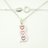 Small Wave Heart Pendant, Silver Enamel Heart Jewellery, Handmade Gift for Her