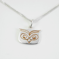 Small Owl Pendant, Silver Bird Jewellery, Handmade Wildlife Gift