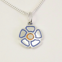 Small Flower Pendant, Handmade from Sterling Silver