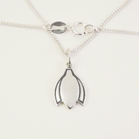 Snowdrop Pendant (Small), Handmade Silver Necklace
