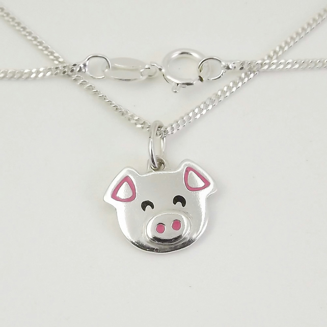 Pig Pendant (Small), Silver Farm Animal Jewellery, Handmade Piglet Gift