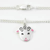 Sheep Anklet, Silver Farm Animal Jewellery, Handmade Lamb Gift for Her