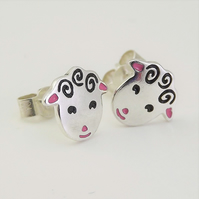 Sheep Stud Earrings, Silver Farm Animal Jewellery, Lamb Gift for Her