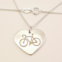 Bicycle Heart Pendant (Large), Handmade Jewellery for Cyclist