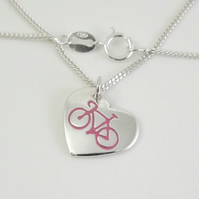 Bicycle Heart Pendant (Small), Handmade Jewellery for Cyclist