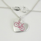 Small Bicycle Heart Pendant, Handmade Jewellery for Cyclist