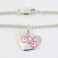 Bicycle Heart Anklet, Handmade Jewellery for Cyclist
