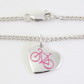 Small Bicycle Heart Anklet, Handmade Jewellery for Cyclist