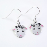 Sheep Drop Earrings, Silver Animal Jewellery, Handmade Lamb Gift for Her