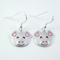Pig Drop Earrings, Farm Animal Jewellery, Silver Piglet Gift for Her