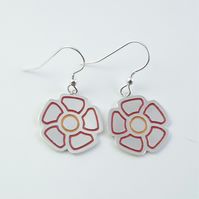 Flower drop earrings, Handmade from Sterling Silver