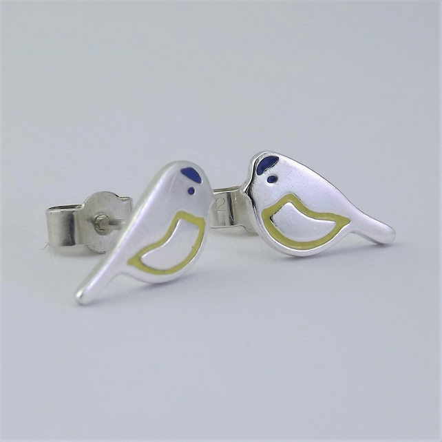 Blue Tit Stud Earrings, Silver Bird Jewellery, Handmade Wildlife Gift for Her