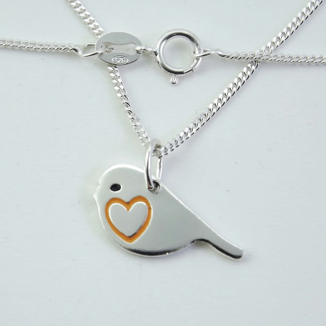Robin Pendant, Silver Nature Necklace, Wildlife Gift, Bird Jewellery