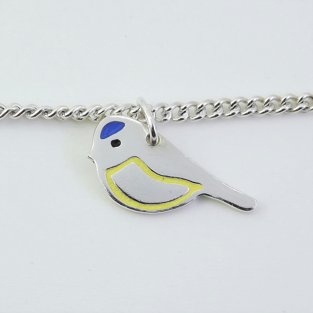 Blue Tit Bracelet, Silver Wildlife Jewellery, Gift for Nature Lover