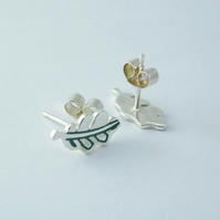 Oak Leaf Stud Earrings, Silver Nature Jewellery, Wildlife Gift for Her