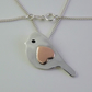 Large bird pendant, handmade from sterling silver and copper
