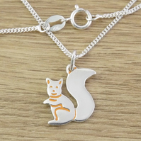 Squirrel Pendant, Silver Wildlife Necklace, Handmade Nature Jewellery