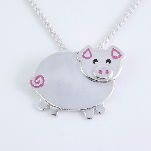 Pig Pendant (Large), Silver Farm Animal Jewellery, Handmade Piglet Gift
