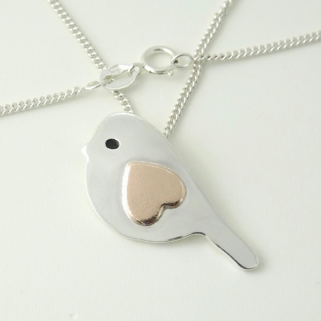 Bird pendant (Large), handmade from sterling silver and copper