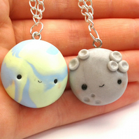 Earth and moon kawaii best friend necklaces
