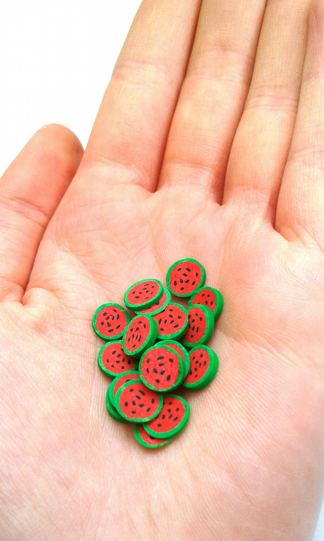 Watermelon polymer clay cane