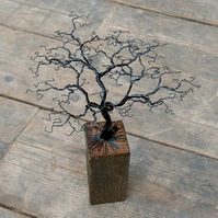 Handmade Wire Bonsai Tree Sculpture on Reclaimed Wood Base (26cm high).