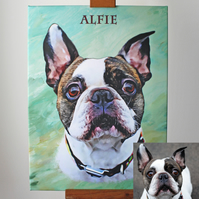 Custom Canvas Portrait of Your Pet From Their Photo by UK Artist