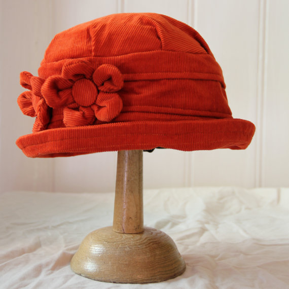Burnt orange cloche hat