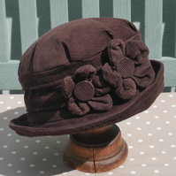 Chocolate brown cloche hat