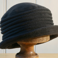 Black fleece cloche hat