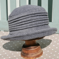 Charcoal grey fleece cloche hat