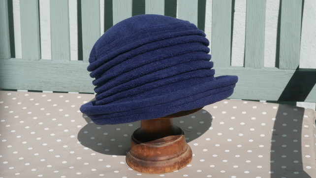 Navy blue fleece cloche hat