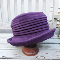 Purple fleece cloche hat