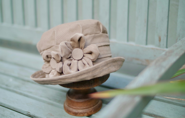 Beige cloche hat