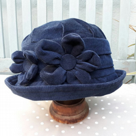 Navy blue cloche hat
