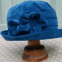 Peacock blue cloche hat
