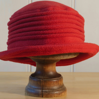 Red fleece cloche hat