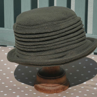 Olive green fleece cloche hat