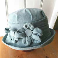 Pale blue cloche hat