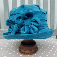 Turquoise needlecord cloche hat