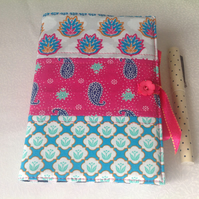 Fabric covered notebook, Journal,  Indian design fabric,, project book,