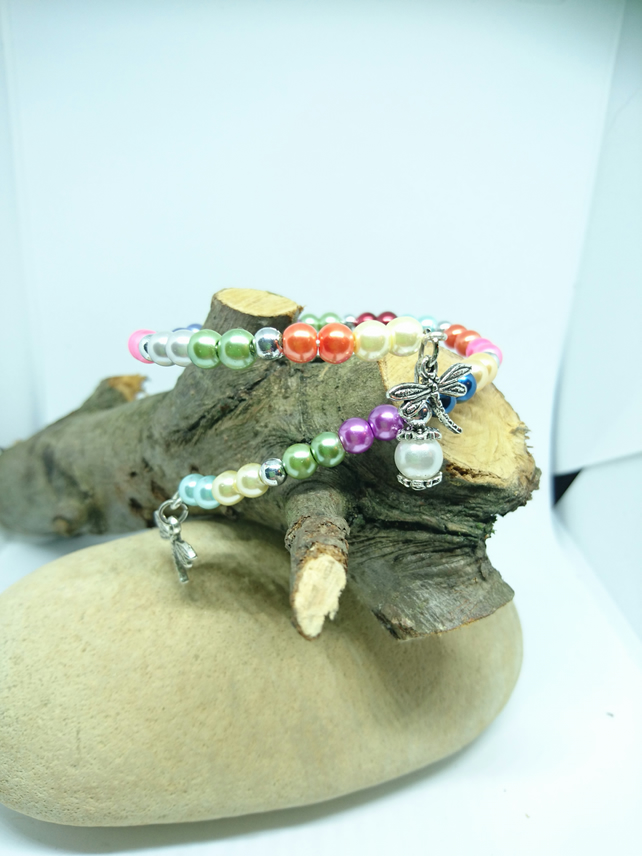 Multi colour adjustable wrap beaded bracelet