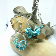 Turqoise stone chip chandlier earrings