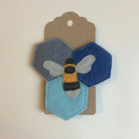 Bee Brooch Hand Embroidered Felt