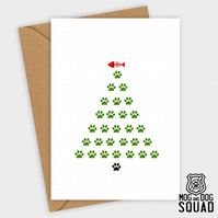 Cat paw tree christmas card