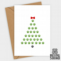dog paw tree christmas card
