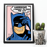 Superhero Batman and his cat A4 print
