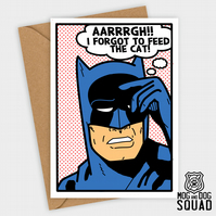Superhero Batman and the cat Birthday card