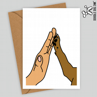 Cute cat or dog high five paw card